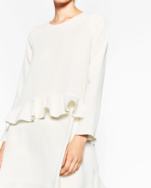 Vestido blanco punto zara
