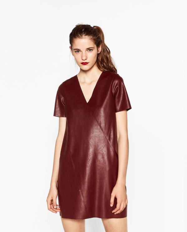 vestidos-de-fiesta-zara-otono-invierno-2017-polipiel-rojo