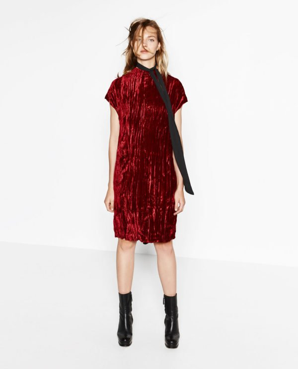 vestidos-de-fiesta-zara-otono-invierno-2017-rojo-terciopelo