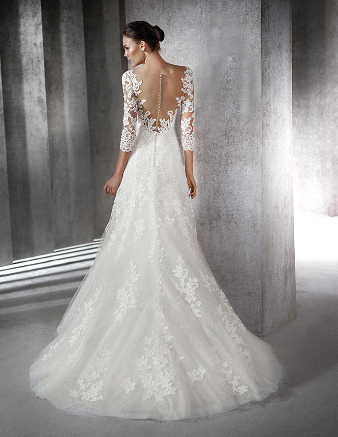Vestido novia manga encaje