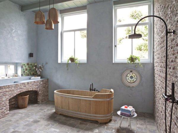 baños-rusticos-con-encanto-bañera