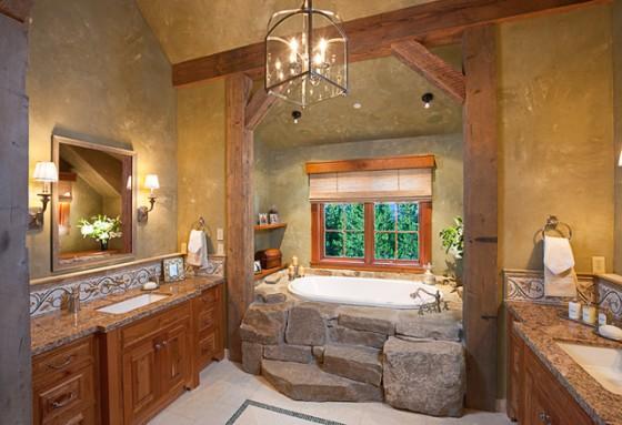 baños-rusticos-de-piedra-y-madera-bañera-y-vigas