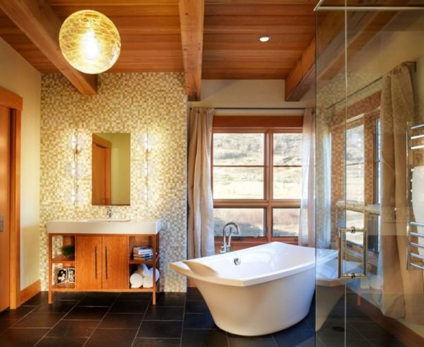 baños-rusticos-modernos-vigas