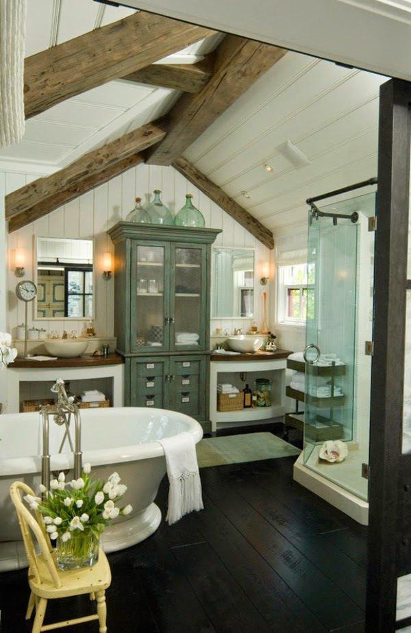 Fotos de ideas de decoraci n para ba os r sticos modernos - Muebles antiguos para banos ...