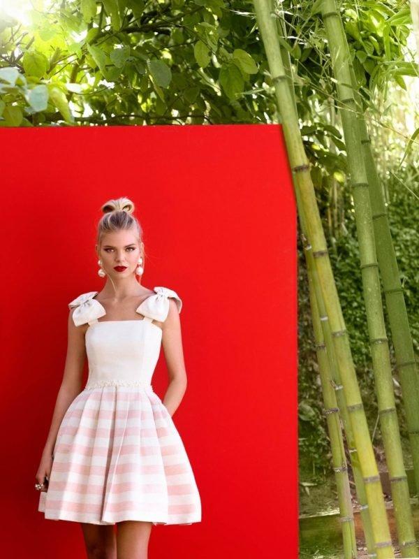 vestidos-de-fiesta-cortos-coctel-rosa-rayas
