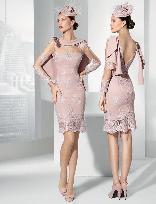 vestidos-de-fiesta-cortos-coctel-rosa-sombrero