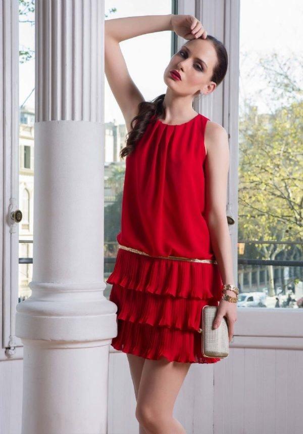 vestidos-de-fiesta-cortos-raso-vestido-gasa-rojo