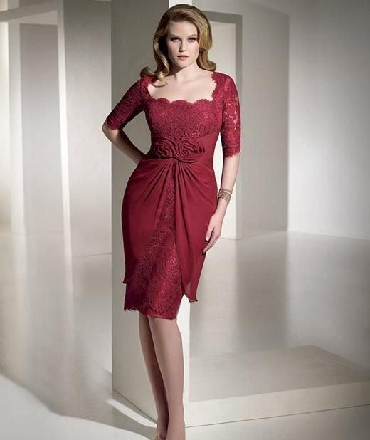 vestidos-de-madrina-de-boda-tallas-grandes-rojo-intenso