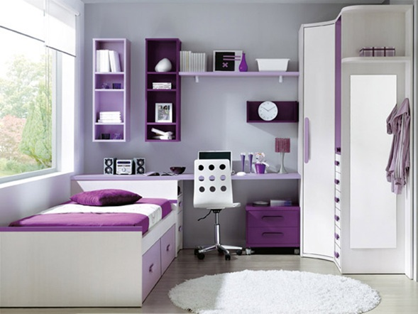 Como decorar un cuarto de una adolescente en color morado - Habitaciones juveniles ninas ...