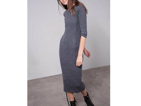 vestido-stradivarius-gris-punto