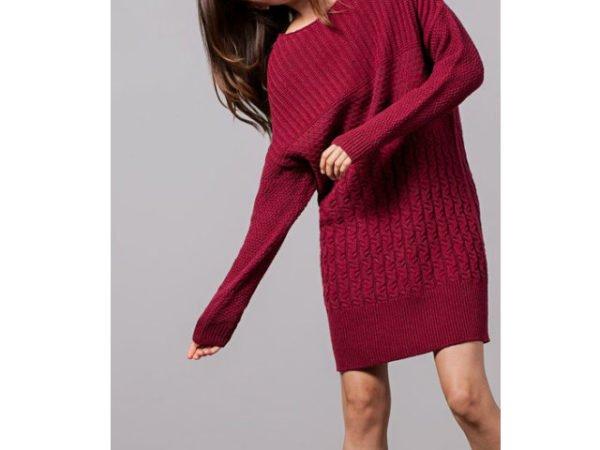 vestido-stradivarius-rojo-manga-larga