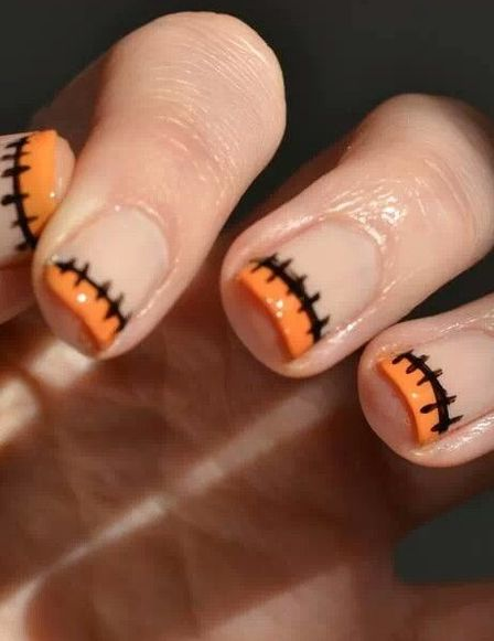 unas-halloween-francesa-naranja