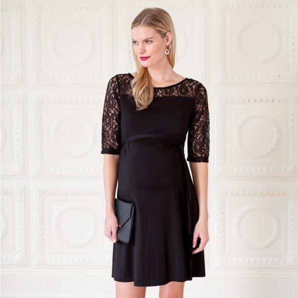 vestidos-de-fiesta-cortos-otoño-invierno-premama-negro