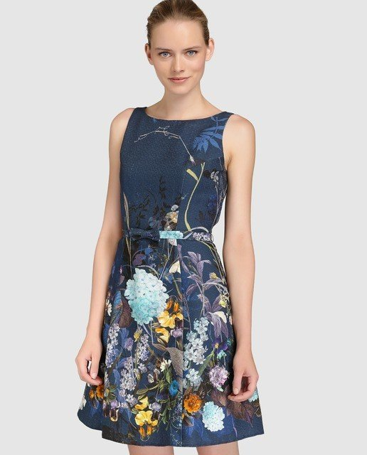 Vestido azul flores el corte ingles
