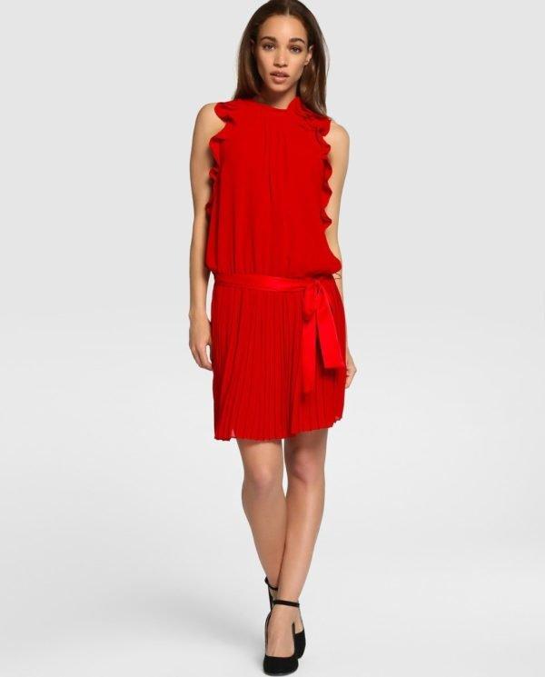 vestidos-de-fiesta-el-corte-ingles-rojo-volante-plisado