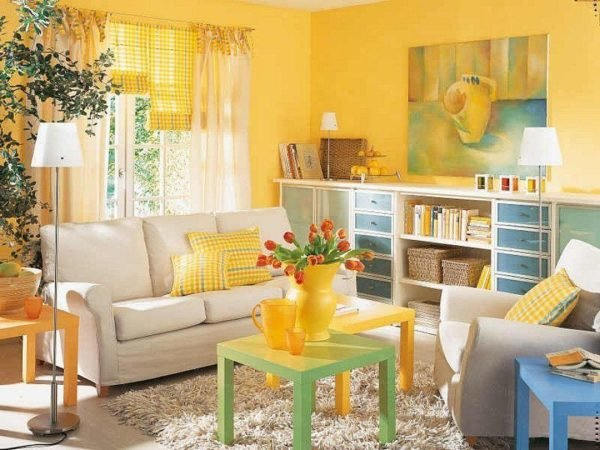 Colores para paredes 2018 - Sofas amarillos color paredes ...