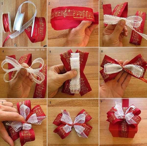 50 fotos con ideas de lazos de navidad c mo hacer lazos - Envolver regalos de navidad ...