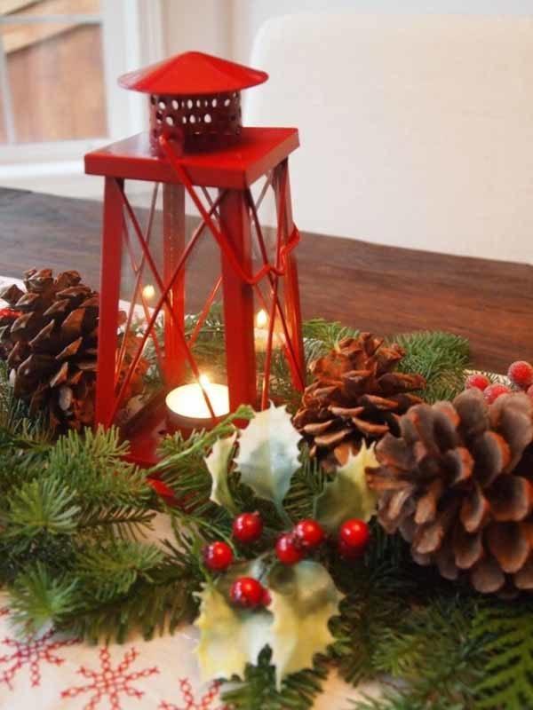 velas de navidad en centros de mesa