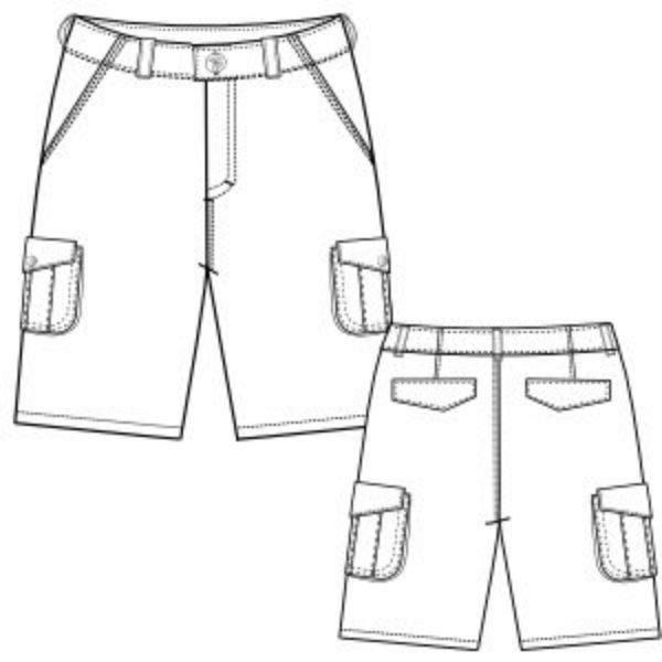 Pantalón corto de niño, con delantero liso. Bragueta de adorno. Cintura trasera elástica con goma de ojales.