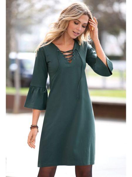 venca-catalogo-vestido-con-cordon-entrelazado-y-eyelets-verde-botella
