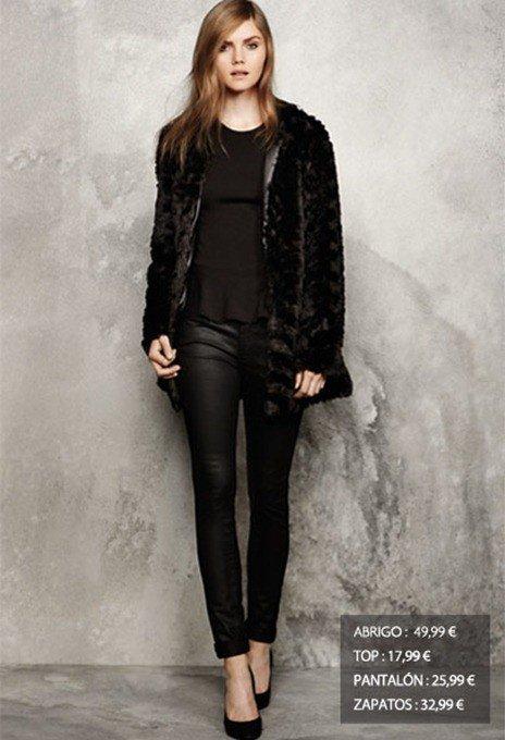 moda-sfera-las-rebajas-abrigo-piel-pelo-negro