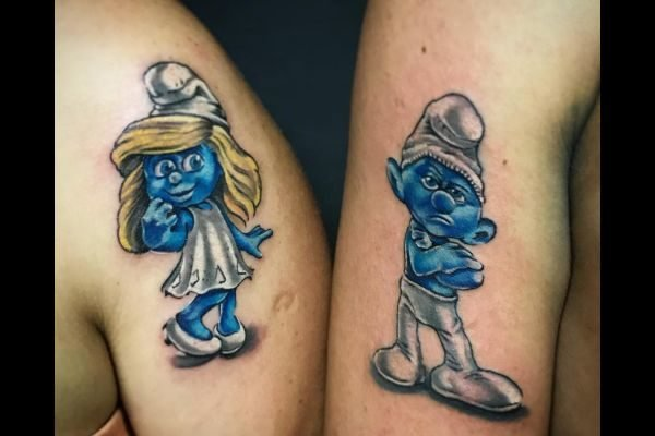 the-best-tattoos-small-women-couples-smurfs