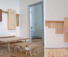 Mesas y taburetes que se cuelgan en la pared