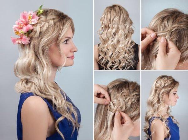 Peinados para pelo rizado pelo largo semirecogido