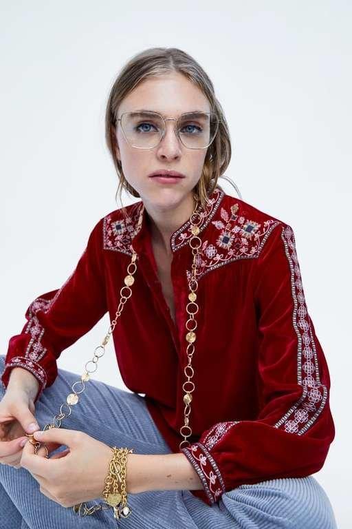 catalogo-zara-mujer-camisa-terciopelo-bordado
