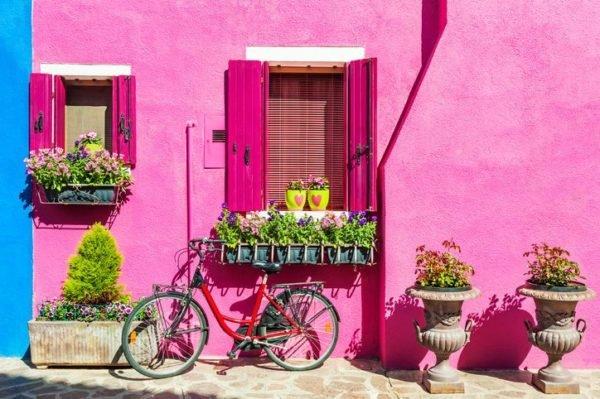 Colores de fachadas para casas rosa