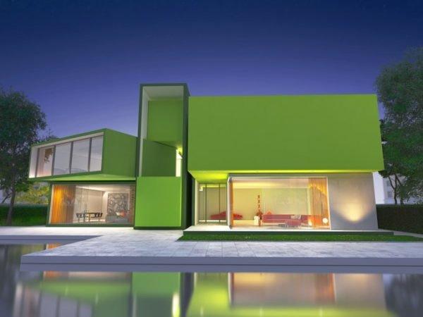 Colores de fachadas para casas verde lima