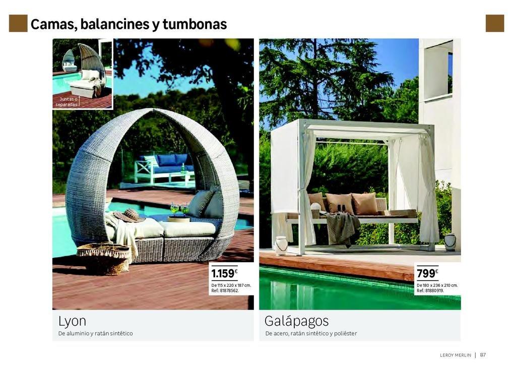6152695ce64 Cuando uno cuenta con un jardín en condiciones o una terraza amplia, una  tumbona no puede faltar. En Leroy Merlin vais a encontrar tumbonas  elaboradas con ...