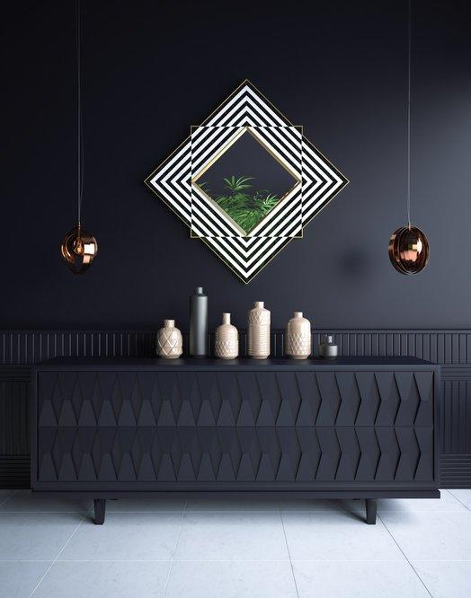 Como decorar una pared con espejos dormitorio negro