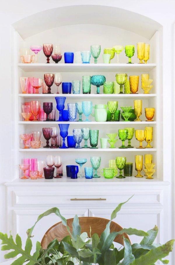 Maravillosa cristalería de colores estilo arco iris