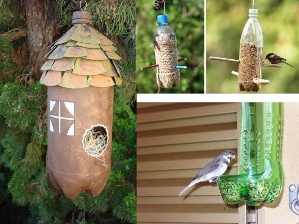 ideas-para-reciclar-botellas-de-plastico-comedero-de-pajaro-umadecoracion