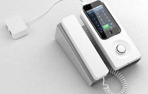 Soporte que convierte el iPhone en un telefono fijo