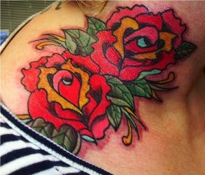 Red Roses On Neck Tattoo