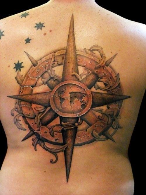 Rosa de los vientos tatuaje