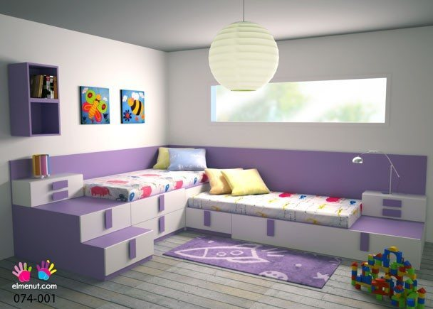 Dormitorios infantiles peque os con dos camas - Camas ninos pequenos ...
