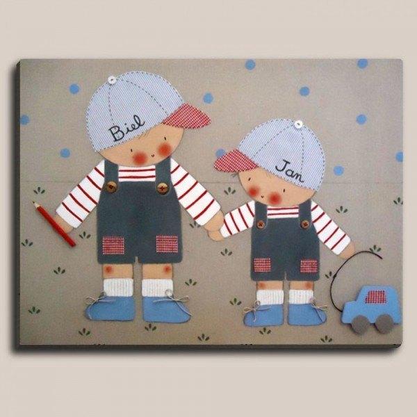 cuadros-infantiles-para-decorar-cuadro-dos-niños-con-nombres