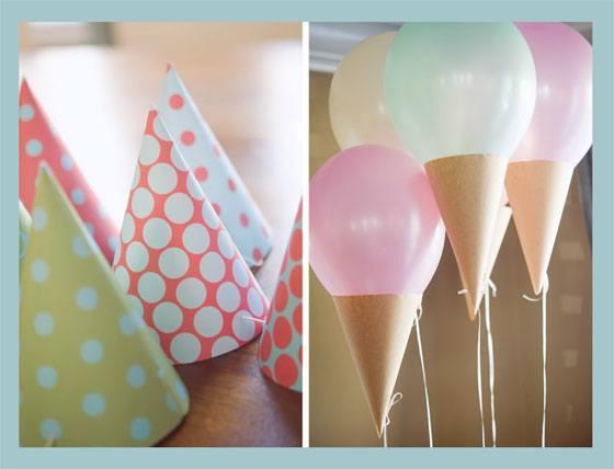 decoracion-de-fiestas-infantiles-decoración-con-globos-conos-con-globos-y-gorros