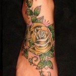 foot rose tattoo 2