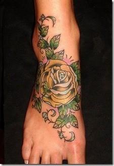 foot rose tattoo 2