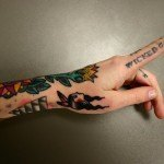 indie tattoo fingers color girl