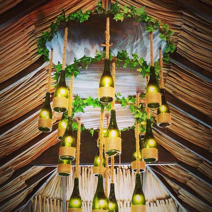 lamparas con botellas de champagne
