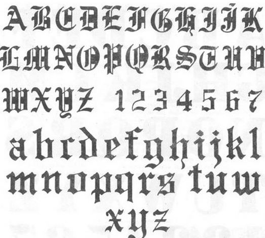 abecedario de letras góticas