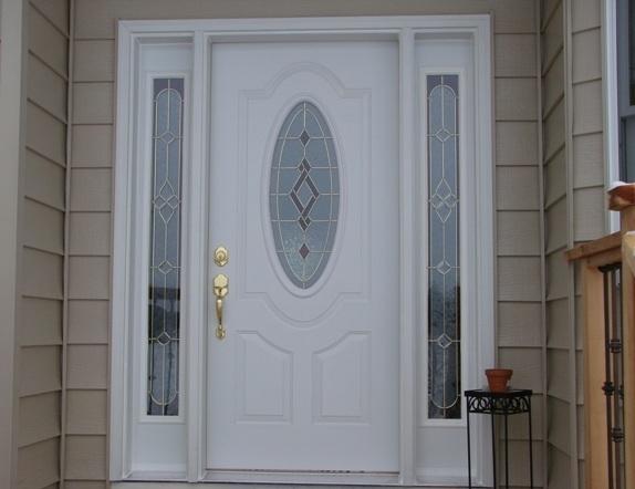 Puerta exterior con cristal for Puertas de madera blancas para exterior