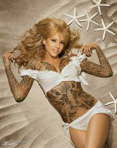 Tatuajes cuerpo completo - Jessica Alba